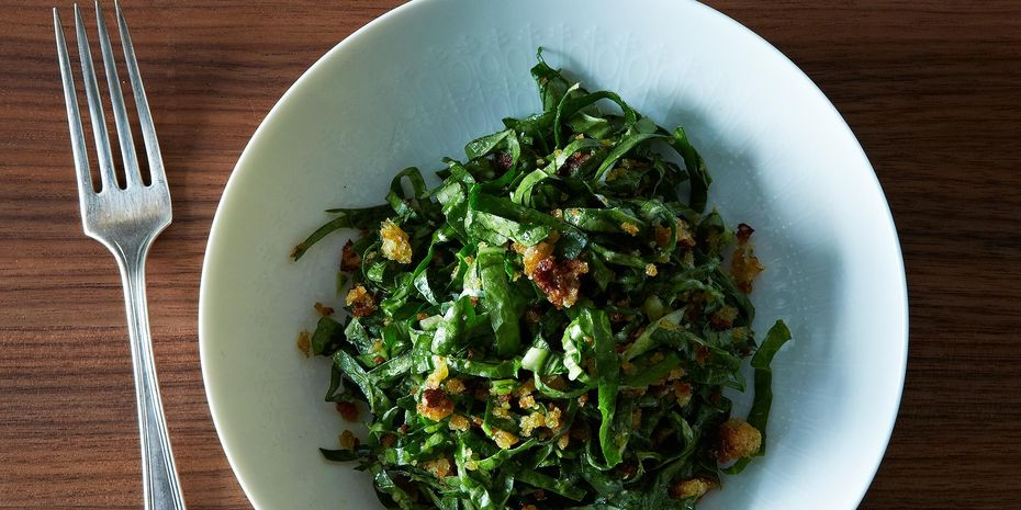 A mostly breadcrumb salad with some chard and Parmesan
