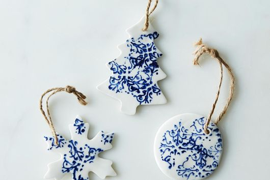 Large Ceramic Tree, Snowflake & Snowball Ornaments  (Set of 3)