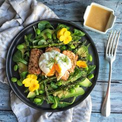 Green Spring Salad with Salmon and a Rhubarb-Miso dressing