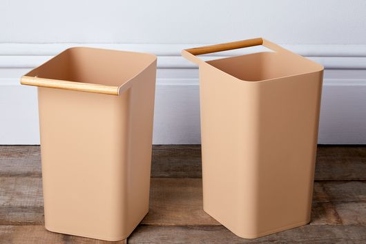 Wood-Handled Minimal Trash Cans (Set of 2)