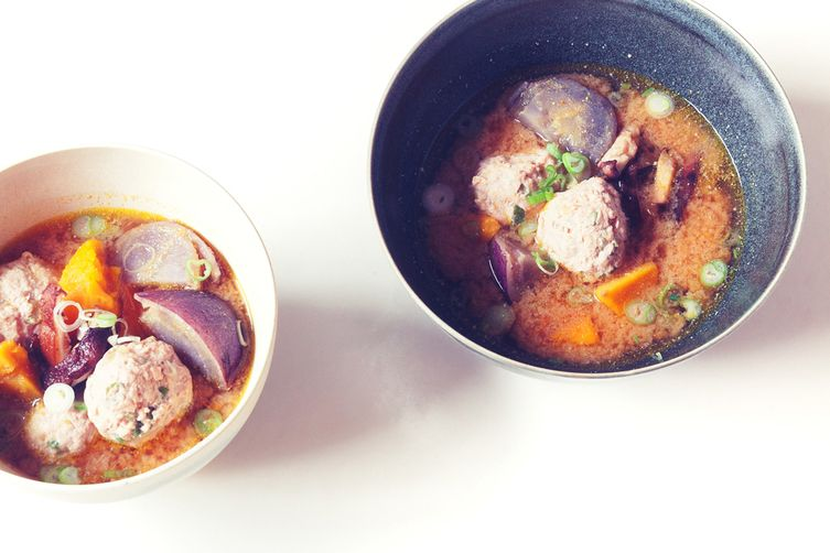 Tofu Meatballs in Miso Soup