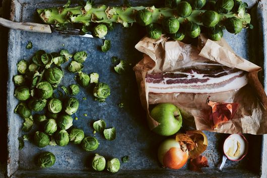 Roasted Brussels Sprouts with Apple & Bacon