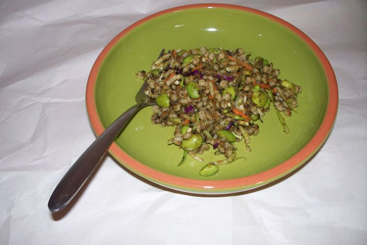 Barley with Edamame, Broccoli Slaw, and Carrot Ginger Black Sesame Paste