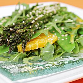 Roasted asparagus salad with Valencia oranges and ginger-citrus vinaigrette