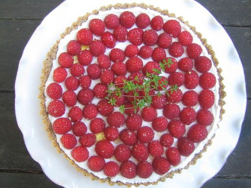 Raspberry Chevre Tart with Poppyseed Crust