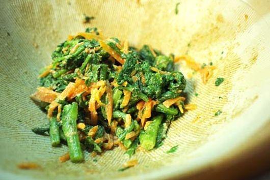 boild carrot&shungiku with sesame sause(goma-ae)