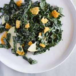 Kale-Apple Salad with Parmesan Chips and Tahini Dressing