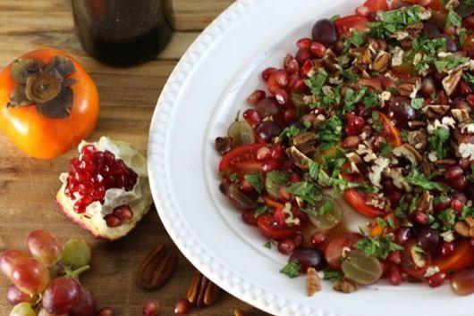Persimmon, grape, pomegranate & burrata salad