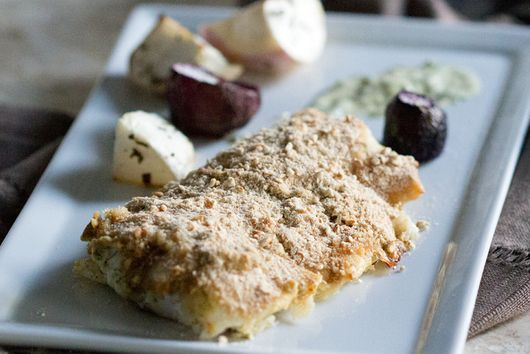 Fish Baked with Dijon Dill Pretzel Crust