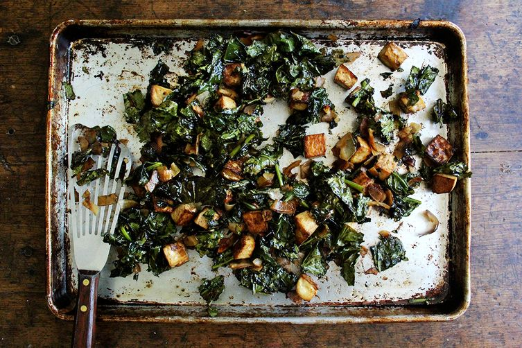 Baked Tofu with Coconut Kale