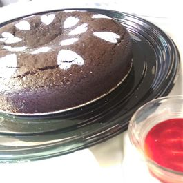 Chocolate Cake with Raspberry Sauce
