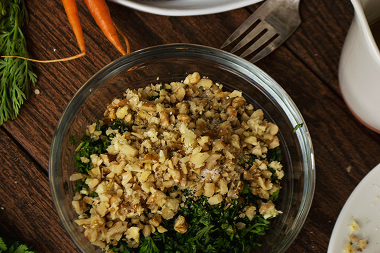 Carrot Top Pesto + Carrot Ribbon Salad