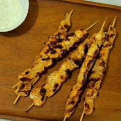 Chicken Tikka Masala Kebabs with Cucumber Yogurt Dip