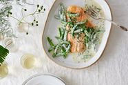 Salmon Filet with Snap Peas & Lemony Crème Fraîche Dressing