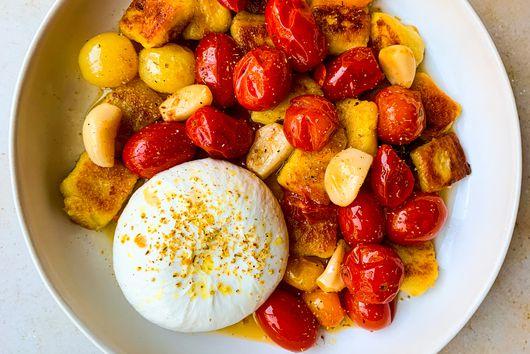 Crispy Gnocchi with Burrata & Tomato Confit