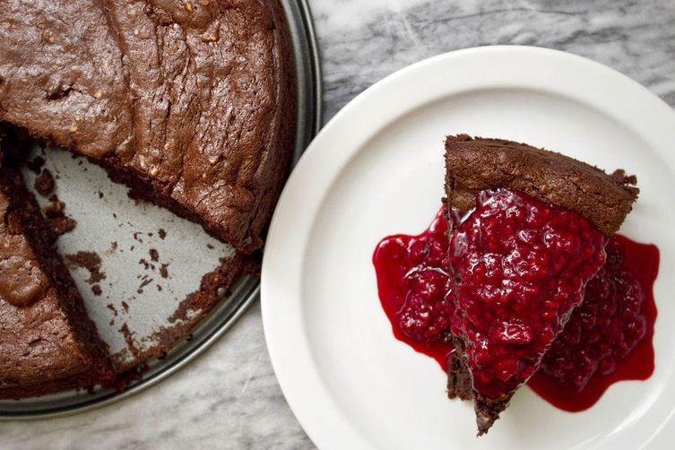 Dark Chocolate Date Cake with Raspberry-Maple Topping
