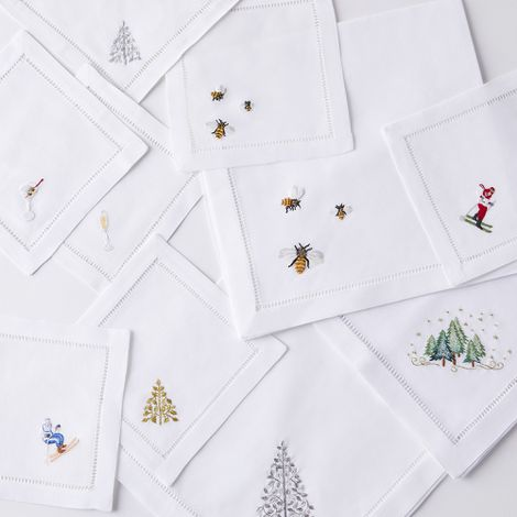 Hand-Embroidered Holiday Napkins