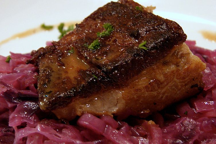 Slow Cooker Pork Belly with Braised Apples and Cabbage