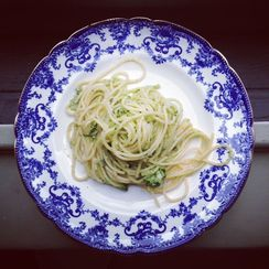 Star Anise & Scallion Spaghetti with Basil & Almond Parmesan