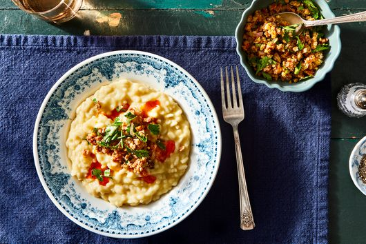 Parsnip Risotto With Caraway-Paprika Oil & Orangey Walnuts
