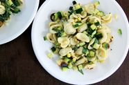 Toasted Orecchiette with Zucchini, Corn, and Crème Fraîche