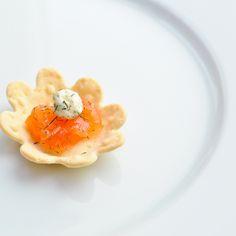 Smoked salmon and crème fraiche canapé