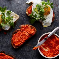 Egg Tartines with Romesco and Greens