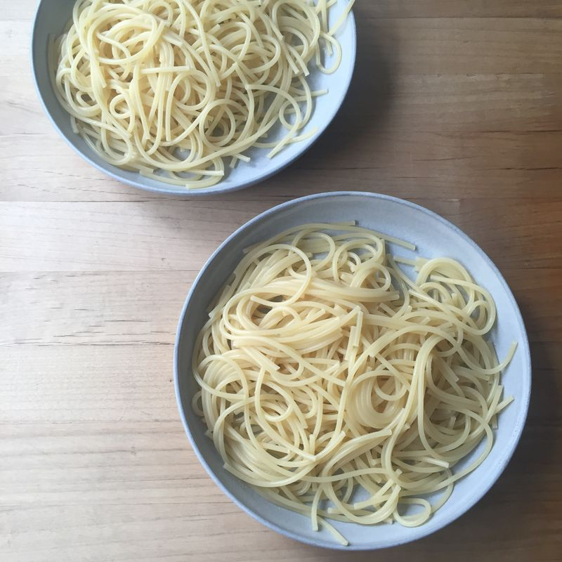 One of these plates of pasta was boiled with smoked paprika. Bet you can't tell which one!