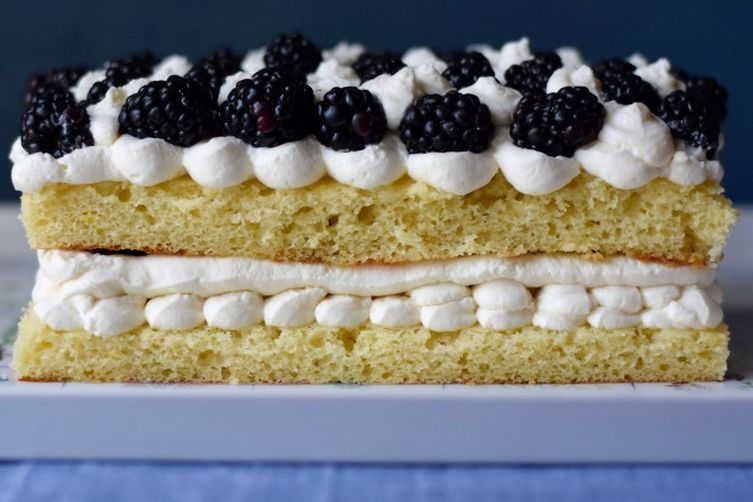 Lemon and Blackberry Mascarpone Cake