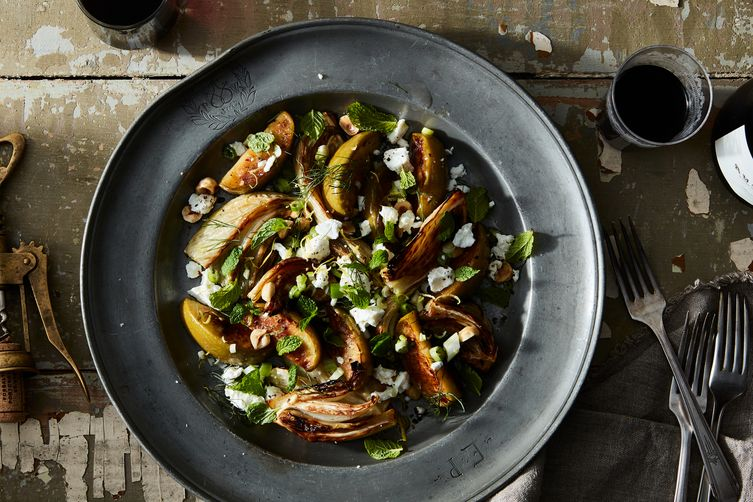 Roasted Apple & Fennel Salad With Toasted Hazelnuts & Goat Cheese