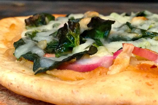 Spinach Flatbread Pizza with Tahini and Apple