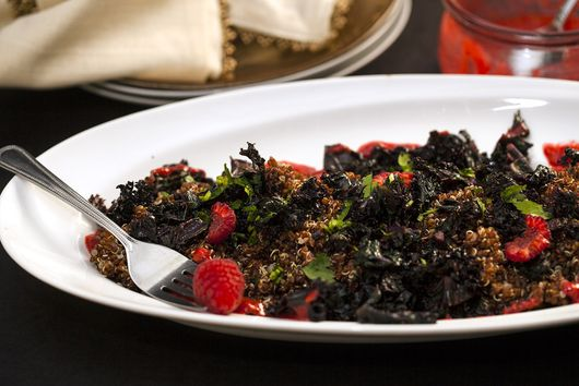 Red Quinoa and Kale with Raspberry Dressing