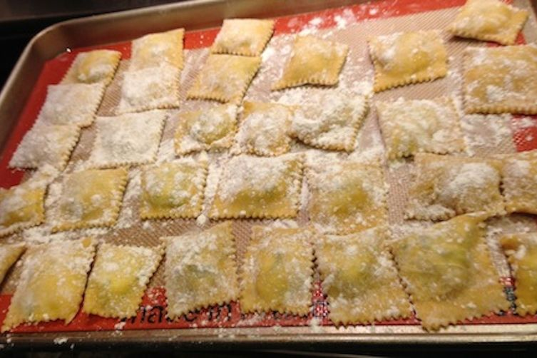 Homemade Ravioli with Ricotta Cheese and Spinach Filling Recipe on ...