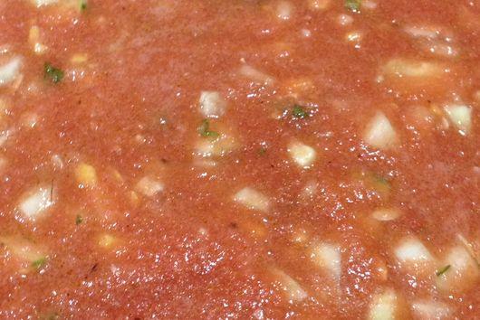 "Gazpacho with Corn and Zucchini aka ""thick soup"""