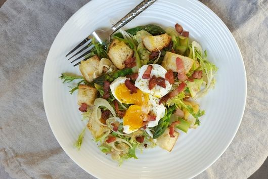 Spring Panzanella with Pancetta & Soft-Boiled Eggs