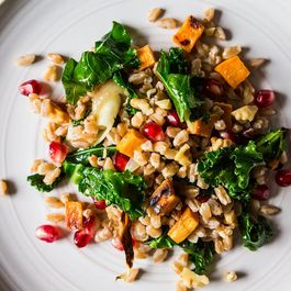 farro with roaste sweet potato , pomegranite, and kale by Rochelle Bernold