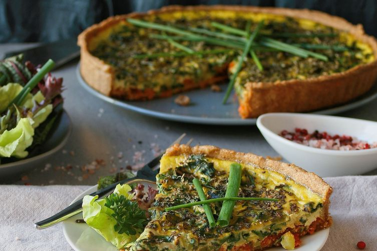 Spring vegetable and red pesto tart