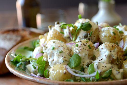Potato Salad with Garlcky Herb Dressing