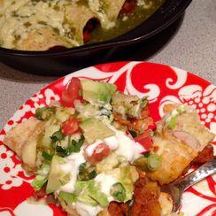 Chorizo, Potato Enchiladas with pickled cactus slaw