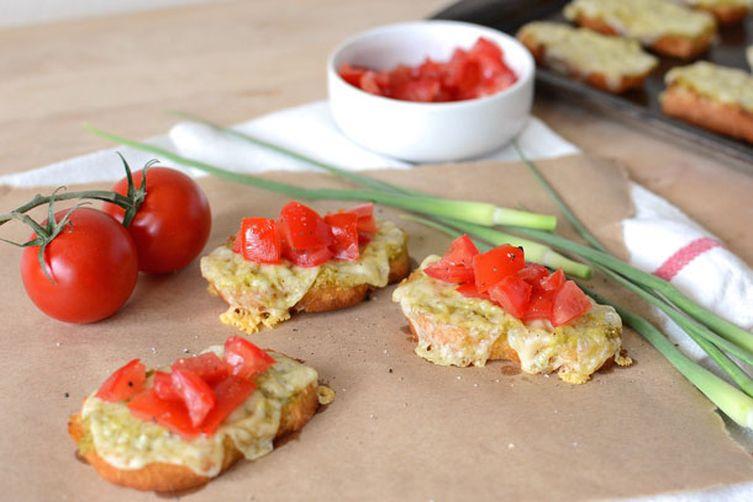 Garlic Scape Pesto Crostini