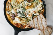 Zucchini Frittata with Caramelized Red Onion and Goat Cheese