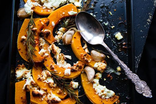 Roast Butternut Squash with Feta and Harissa Creme Fraîche