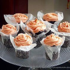 Chocolate Cupcakes with Rose Vanilla Buttercream