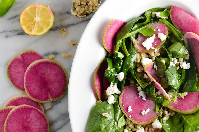 Watermelon Radish and Spinach Salad