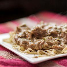 Beef Stroganoff with (hidden) Mushrooms over Wild Rice Noodles