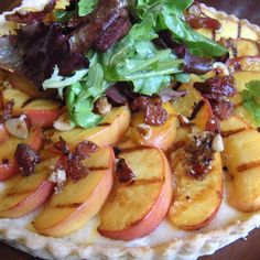Grilled Peach Tart with Gouda, and Candied Bacon and Hazelnuts
