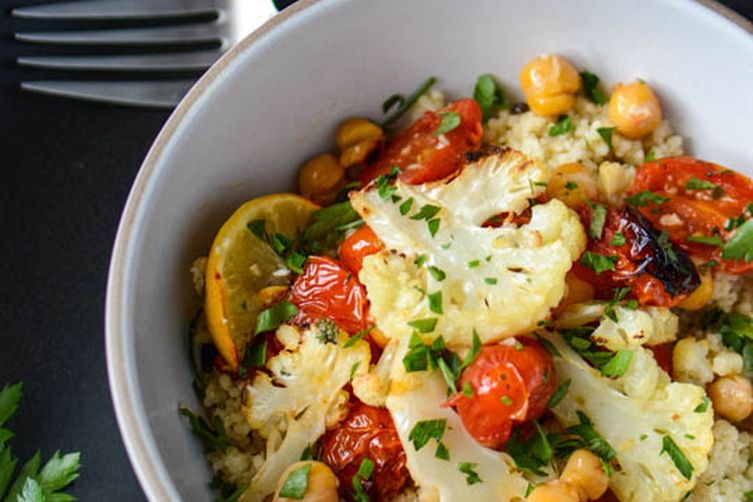 Roasted cauliflower, tomato and chickpea bowl Recipe on Food52