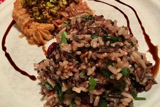 Pistachio-Crowned SeaBear Wild King Salmon Fillets with Cranberry Wild Rice