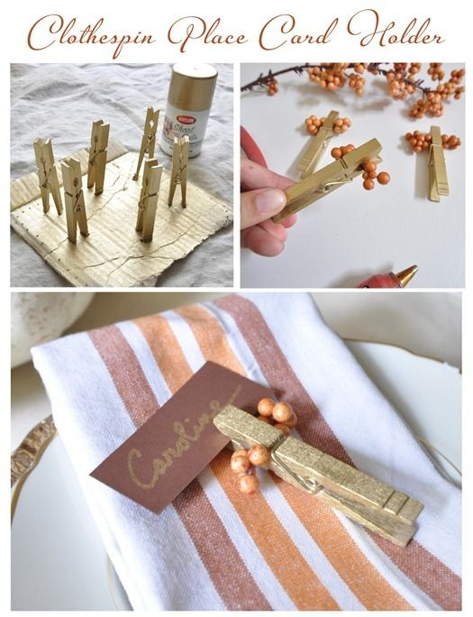 Table Card Holder Ideas theyre perfect for keeping out all season long to act as holiday photo holders simply slip a holiday shot of the family celebrating into where youd place 3523af2c Fc44 464e 9581 8bdddf596a3b Clothespin Place Card Holder