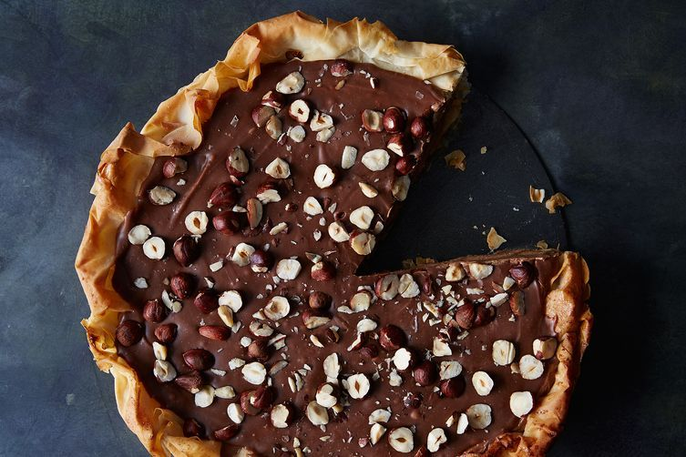 This Ferrero Rocher Pie is made with a phyllo dough crust.